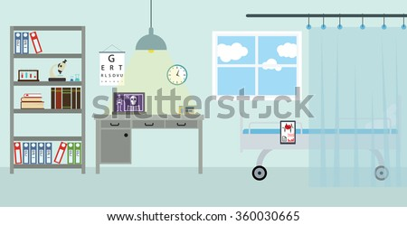 Doctor's workplace in the clinic. Isolated vector background in flat design style - stock vector