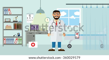 Doctor's workplace in the clinic. Isolated vector illustration in flat design style