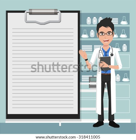 Doctor showing blank clipboard sign for presentation - Vector illustration on the background of hospital ward. - stock vector