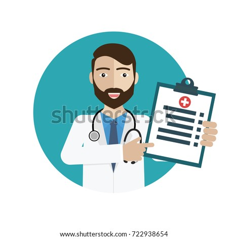 Diagnoses  >> Doctor Showing Diagnoses Medical Health Vector Stock Vector Hd