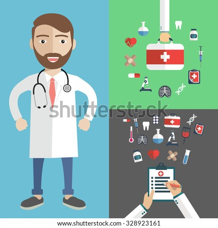 Doctor showing diagnoses with medical icons, patient care  - stock vector