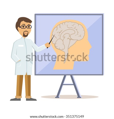 Doctor showing human brain flat design. Human head, human anatomy, medicine care, medical health human, hospital and professional specialist illustration - stock vector