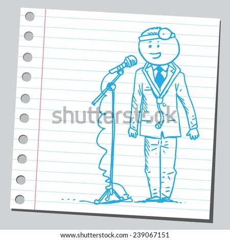 Doctor speaking in front of microphone - stock vector