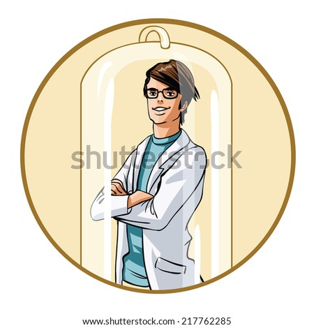 Doctor with arms crossed under the bulb - stock vector