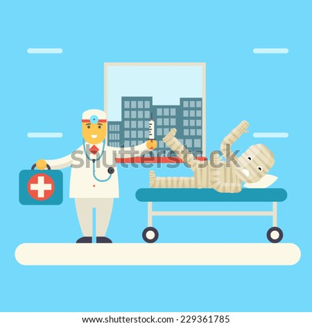 Doctor with Bandaged Patient characters Icon Health Treatment Symbol on Stylish Background Modern Flat Design Vector Illustration - stock vector