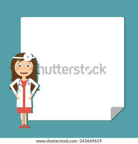 Doctor with blank poster in flat design. Vector illustration  - stock vector