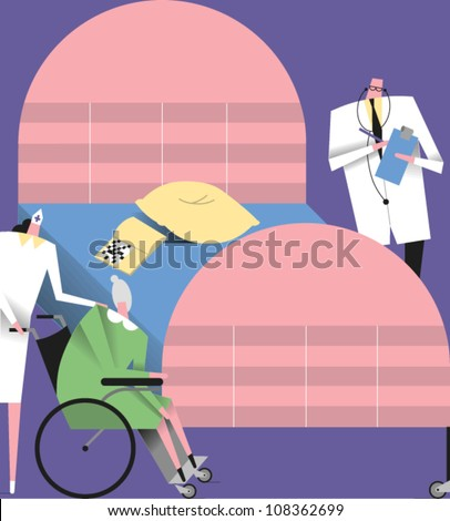 Doctor with clipboard and stethoscope standing near a hospital bed and a nurse pushing an elderly woman in a wheelchair - stock vector