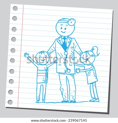 Doctor with happy kids - stock vector