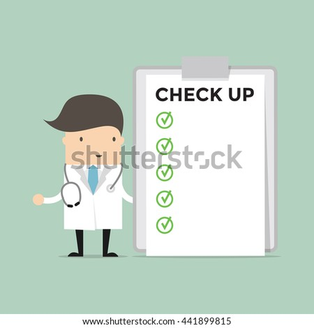 Doctor with list of medical check up. vector - stock vector
