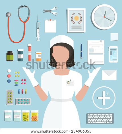 Doctor with Pills  Medications Bottles. Medicine flat style illustration with a nurse objects collection. Vector EPS10. - stock vector