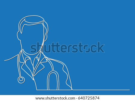 Contour Line Drawing Of A Person : Doctor stethoscope continuous line drawing stock vector