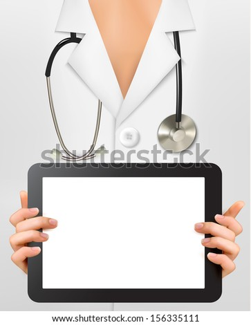 Doctor with stethoscope holding blank digital tablet. Vector illustration. - stock vector