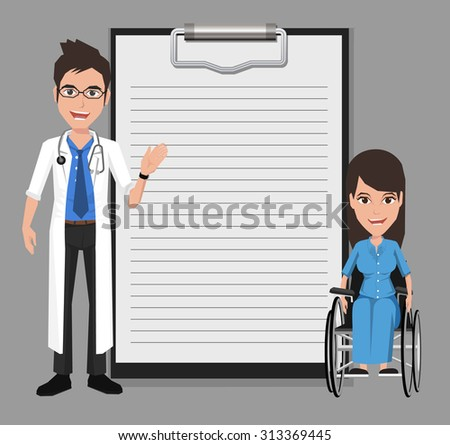 Doctor with woman in a wheelchair showing blank clipboard sign for presentation - character design, vector illustration - stock vector