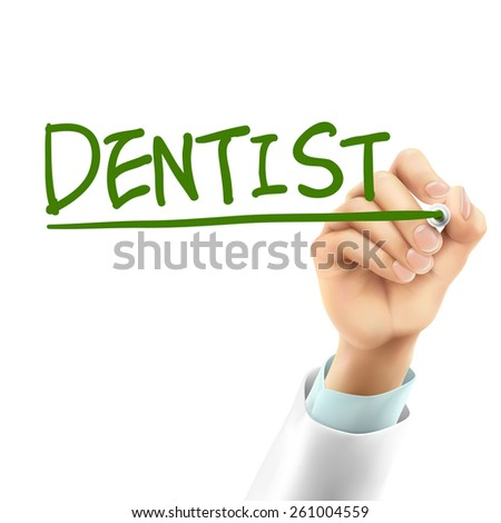 doctor writing dentist word in the air - stock vector