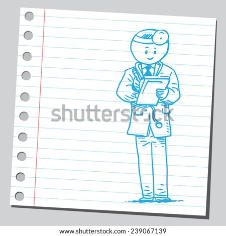 Doctor writing on medical chart clipboard - stock vector