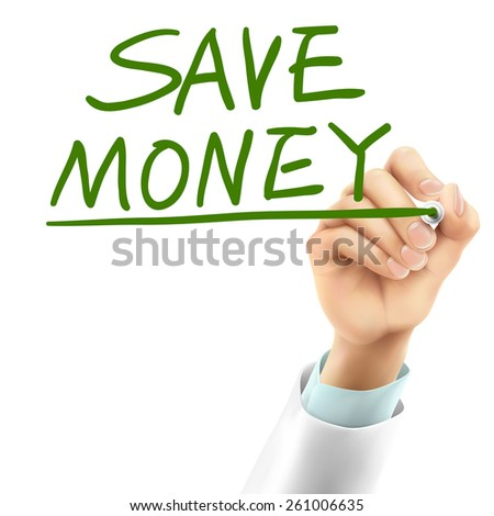 doctor writing save money words in the air - stock vector
