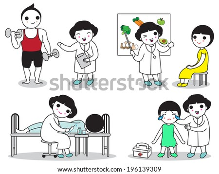 Doctors and patience illustration set - stock vector
