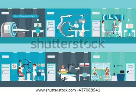 Doctors and patients in hospitals, Medical services, dental care, x-ray, Orthopedic clinics,MRI scanner machine, ophthalmic testing device machine, C Arm X-Ray, health care conceptvector illustration. - stock vector
