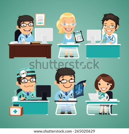 Doctors at the Table. In the EPS file, each element is grouped separately. - stock vector