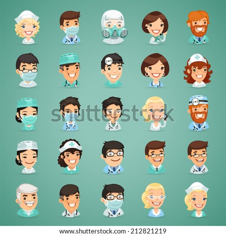 Doctors Cartoon Characters Icons Set. In the EPS file each element is grouped separately. - stock vector