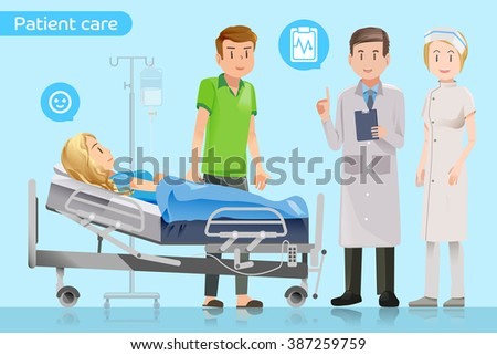 Doctors explain the treatment to the patient.Visit patients in hospitals.Encouragement of healing.Care after surgery.Patients have to stay in hospital.Support for patients.Graphic design and EPS 10. - stock vector