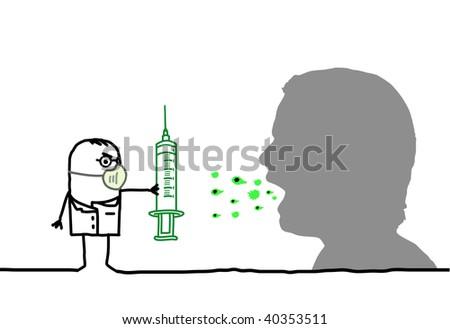 doctors & flu vaccine - stock vector