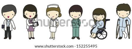 Doctors, Nurse and Patients - stock vector