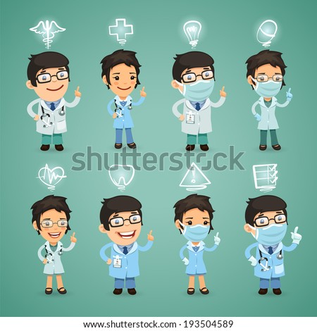 Doctors with Icons Set. In the EPS file, each element is grouped separately. - stock vector
