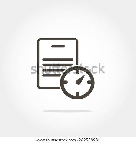document and clock icon, minimum points, clean work, vector illustration - stock vector