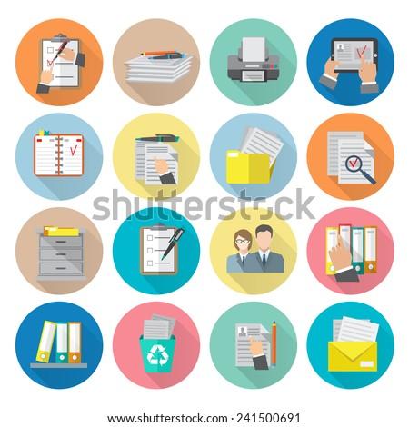 Document archive catalog management documentation organizing icon flat set isolated vector illustration - stock vector