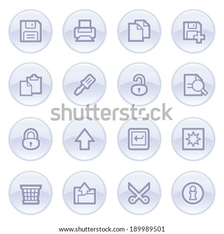 Document contour icons on blue buttons. - stock vector