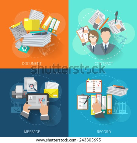 Document design concept set with contract message record flat icons isolated vector illustration - stock vector