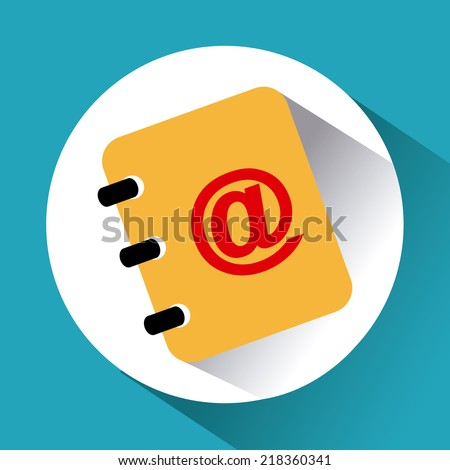 Document design over blue background, vector illustration