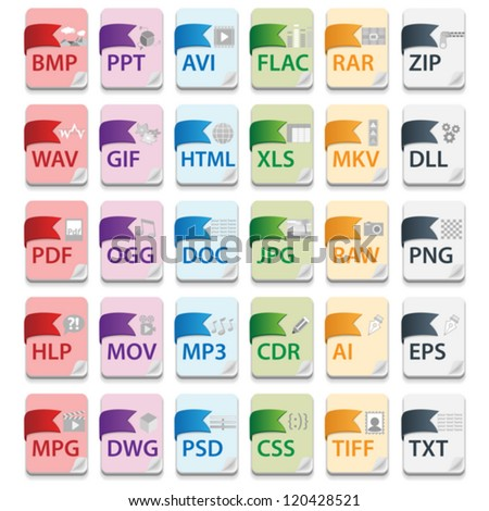 Document file extensions with labels - stock vector
