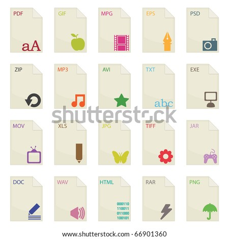 document file extensions with labels isolated on white - stock vector