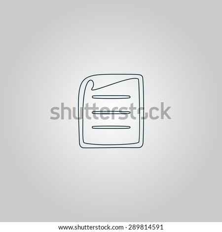 Document. Flat web icon, sign or button isolated on grey background. Collection modern trend concept design style vector illustration symbol - stock vector