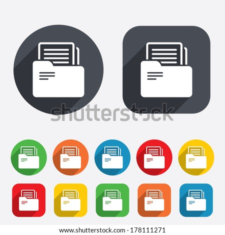 Document folder sign. Accounting binder symbol. Bookkeeping management. Circles and rounded squares 12 buttons. Vector - stock vector