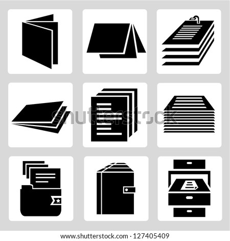 document icon set, stack of paper sign - stock vector