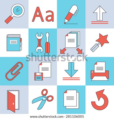 Document icons, flat design, thin lines and light color style - stock vector