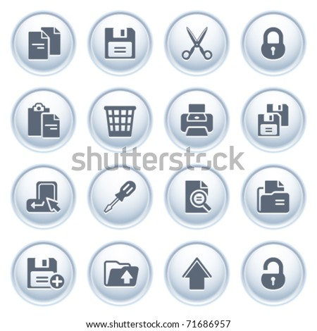 Document icons on buttons, set 1 - stock vector