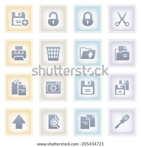 Document icons on colored paper.