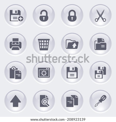 Document icons on glossy buttons.
