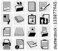 Document icons , paper and file icon set - stock
