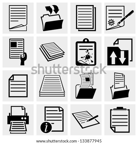 Document icons , paper and file icon set - stock vector