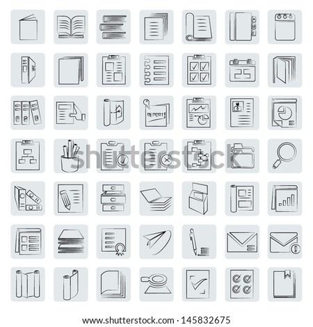 document icons set, books icon, sketch style, drawing style - stock vector