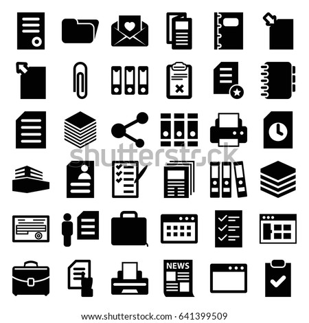 document icons set set of 36 document filled icons such as document binder