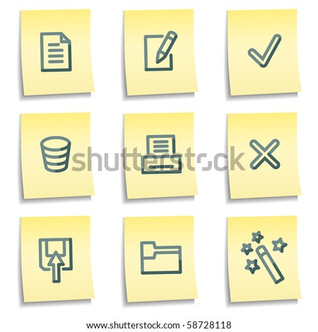 Document icons set 2, yellow notes series - stock vector