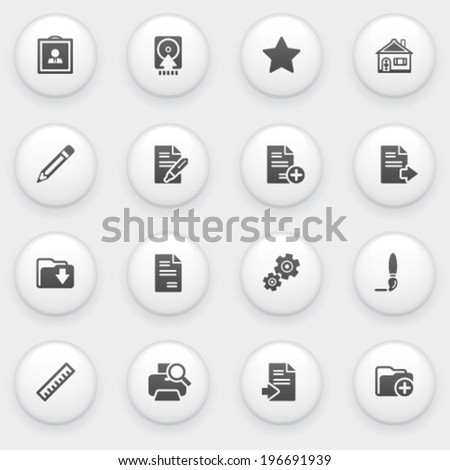 Document icons with white buttons on gray background. - stock vector
