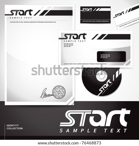 Document, letter, business card and disk template. EPS-10 - stock vector