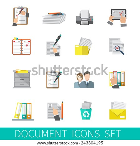 Document paper folder documentation organizing icon flat set isolated vector illustration - stock vector